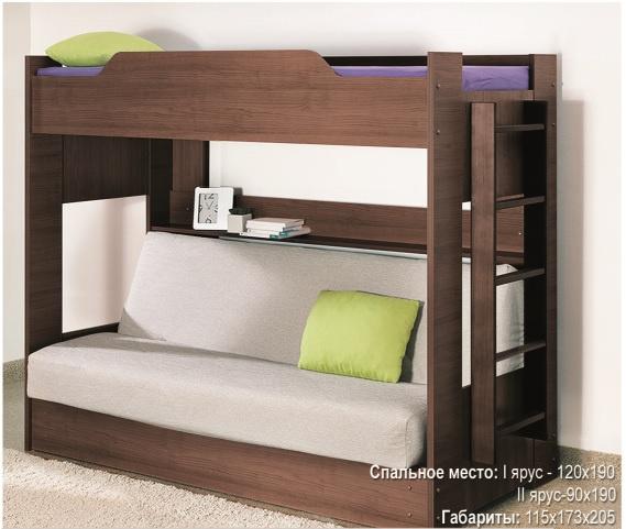 Двухъярусная кровать с диваном (вишня), ткань Аирмэйл Боровичи мебель, Тахты и кровати